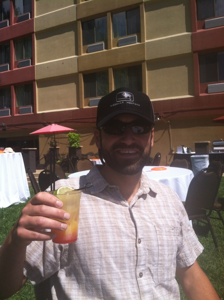 Cheers! Mai-tai at the post-race luau.